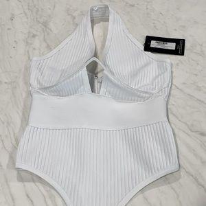 PLT White Bandage Halter Bodysuit